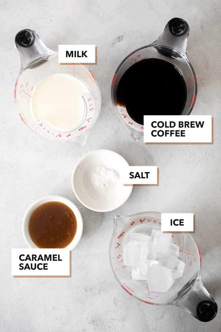 Iced salted caramel latte ingredients.