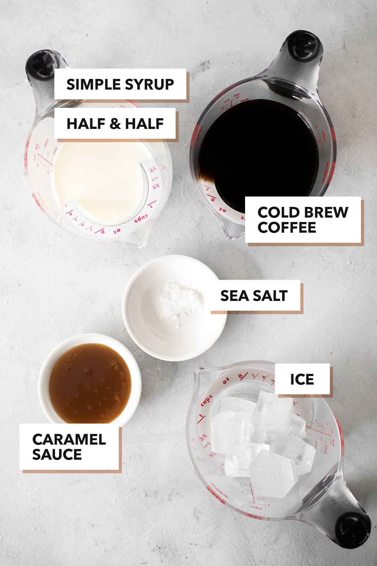 Salted caramel cold brew with cold foam ingredients.