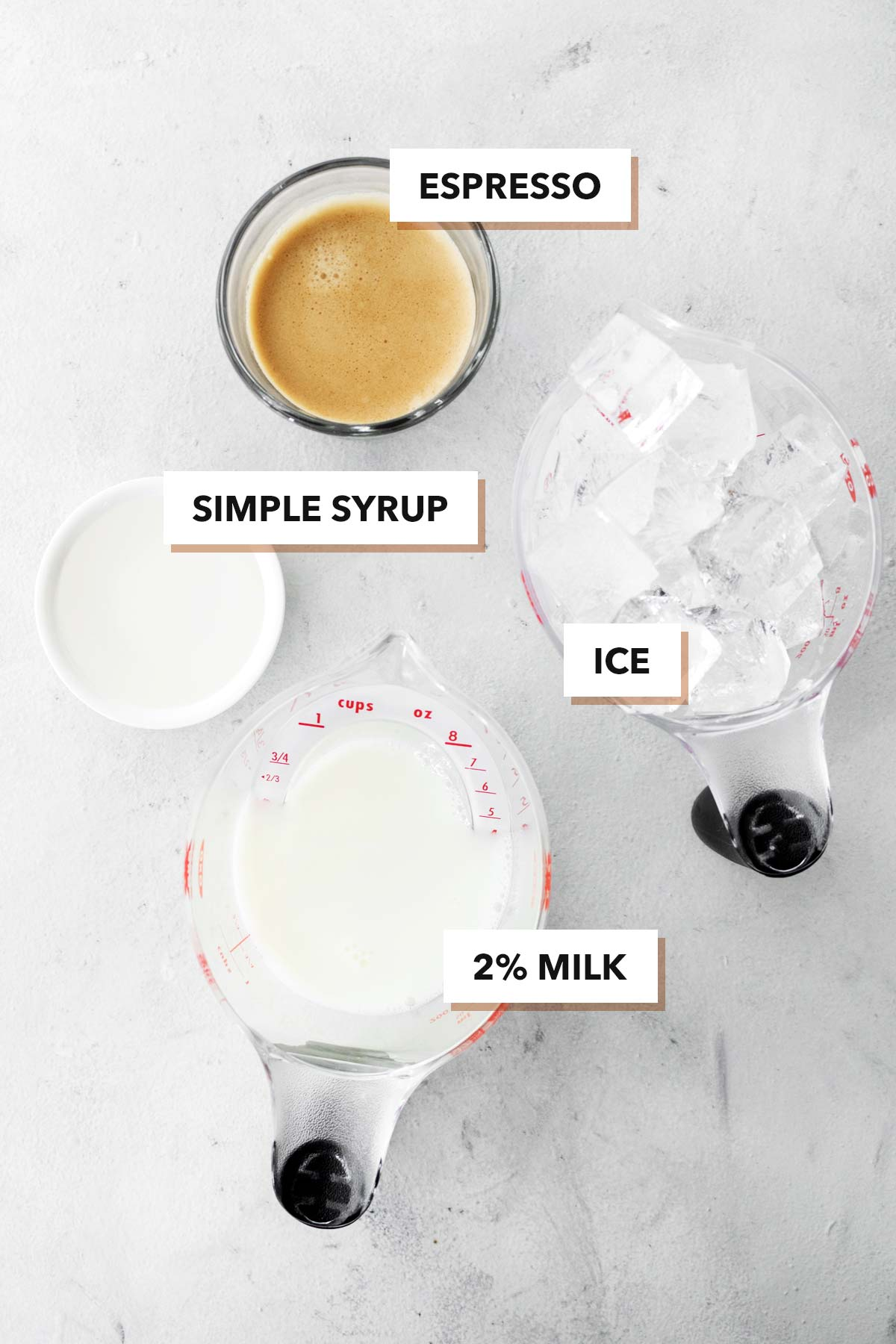 Starbucks Iced Shaken Espresso copycat drink ingredients.