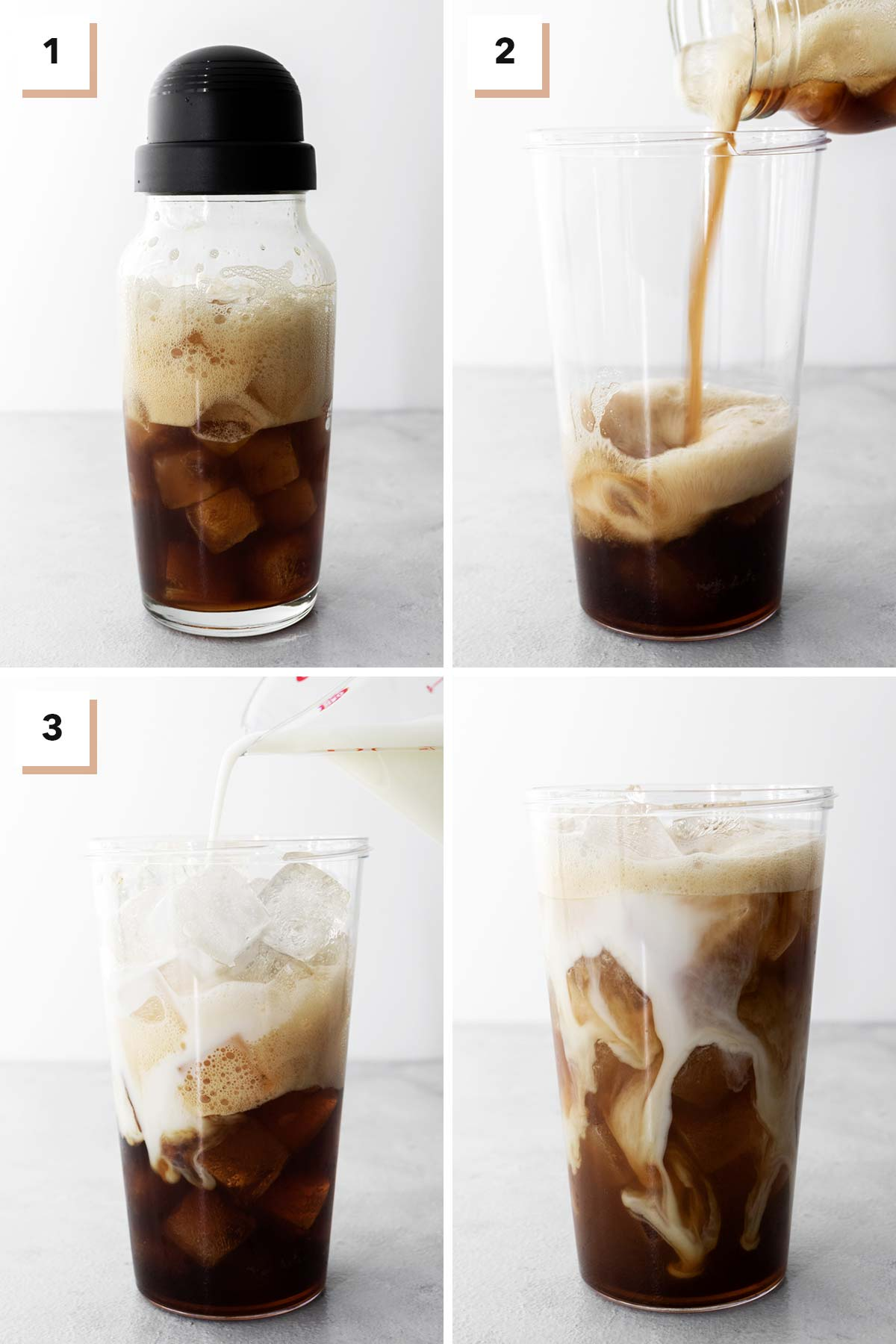 Four photo collage showing steps to make Starbucks Iced Shaken Espresso drink at home.
