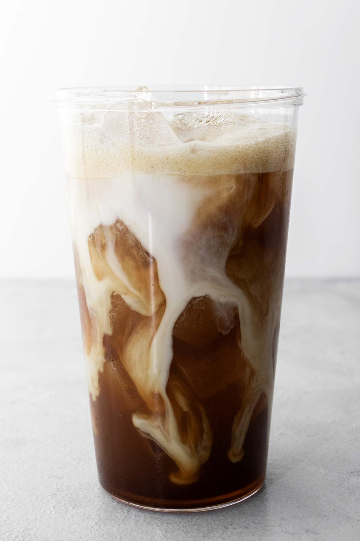 Starbucks Iced Shaken Espresso copycat drink in a clear cup.