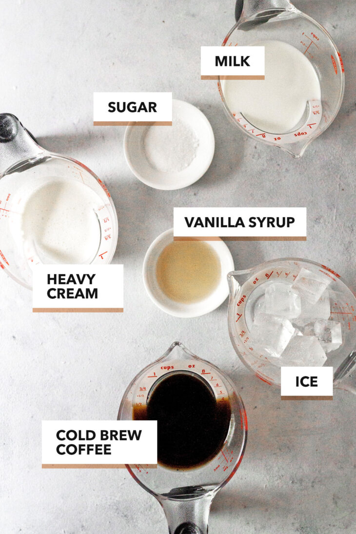 Iced Vanilla Latte Ingredients.