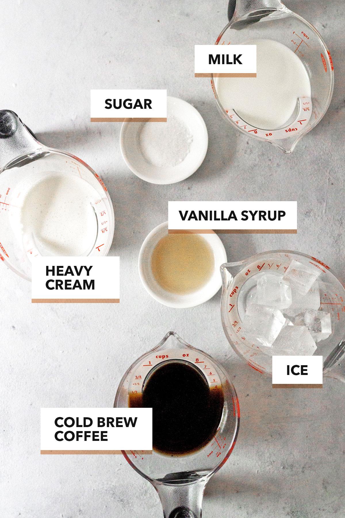 Iced Vanilla Latte Ingredients.