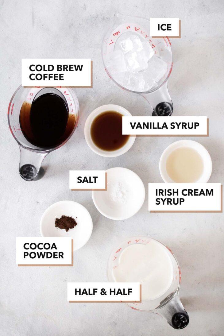 Irish Cream Cold Brew with Cold Foam ingredients.