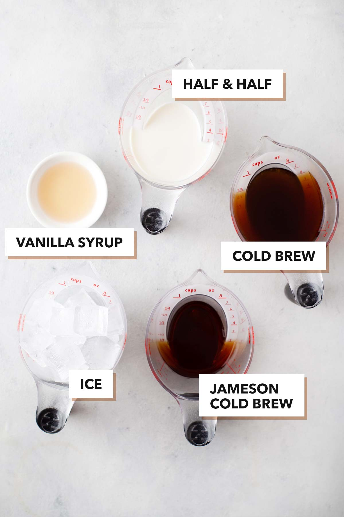 Jameson Cold Brew with cold foam ingredients.