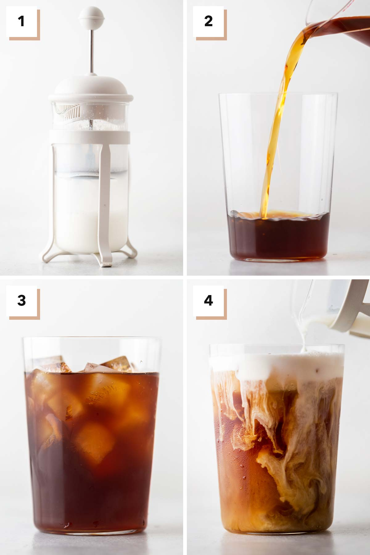 Four photo collage showing steps to make Iced Irish Coffee with cold foam.