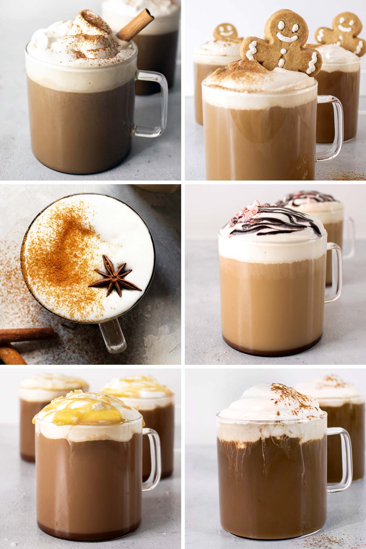 Photo collage with six latte images.
