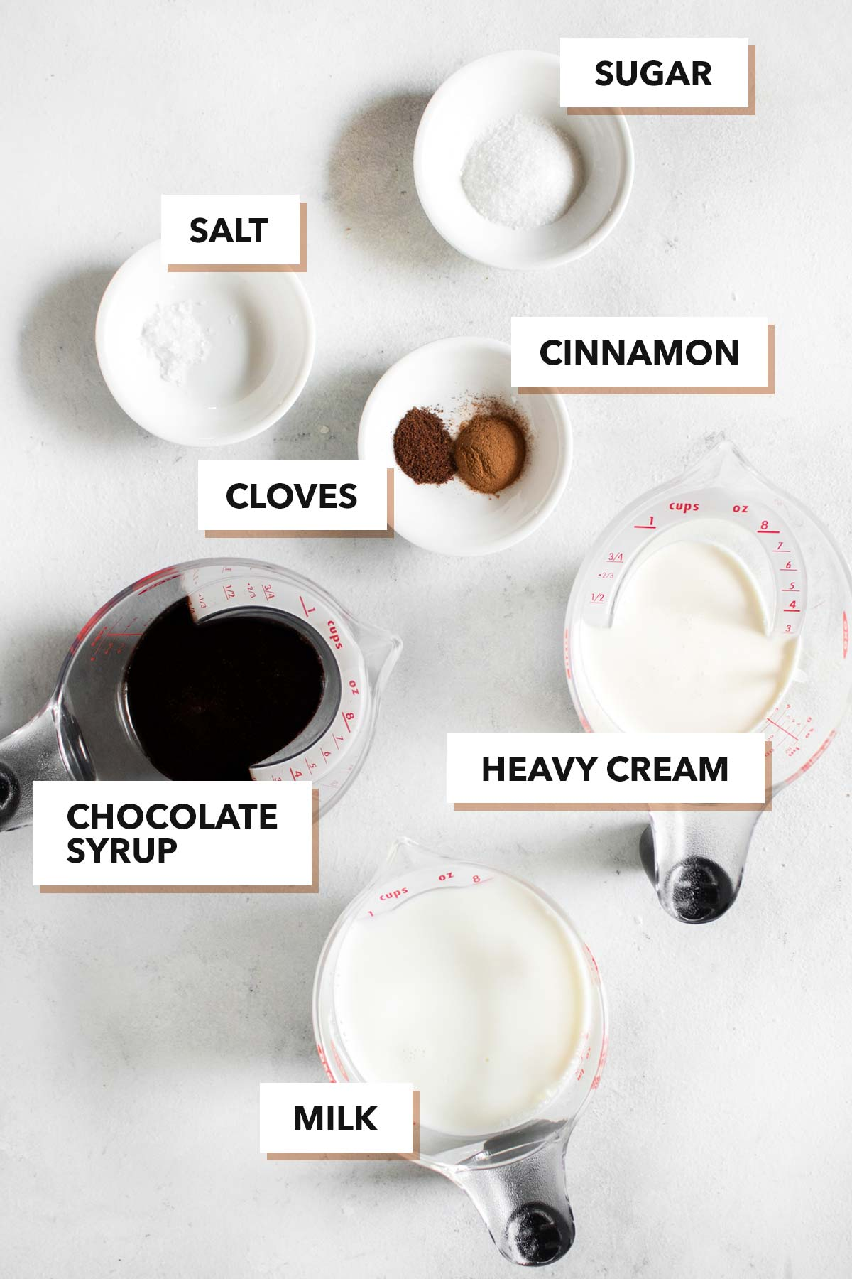 Mexican Hot Chocolate ingredients.