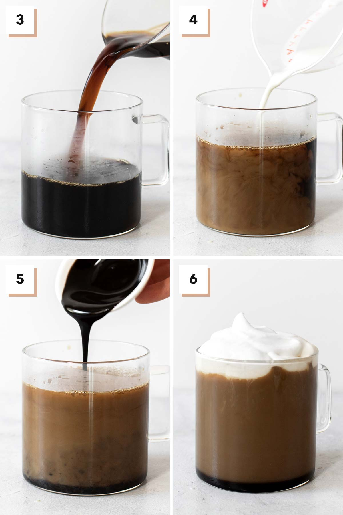 Four photos showing the assembly of a mocha drink.