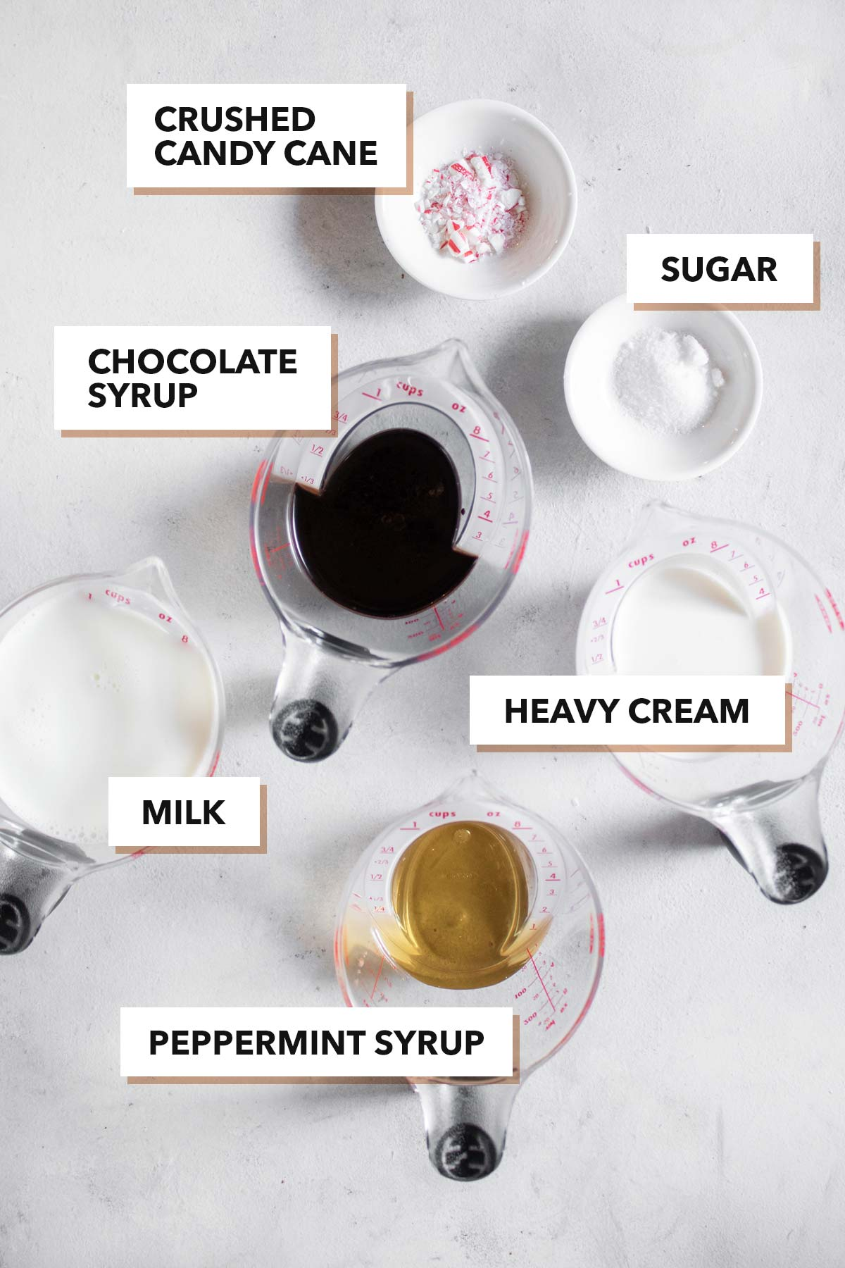Peppermint hot chocolate ingredients.
