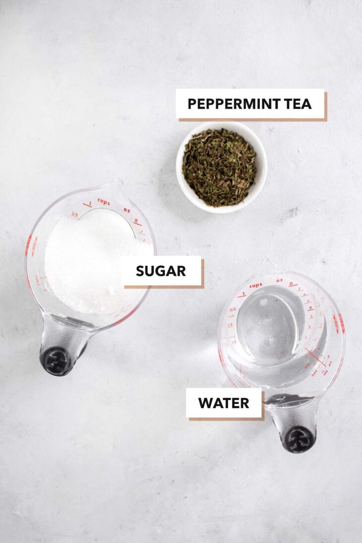 Mint syrup ingredients.