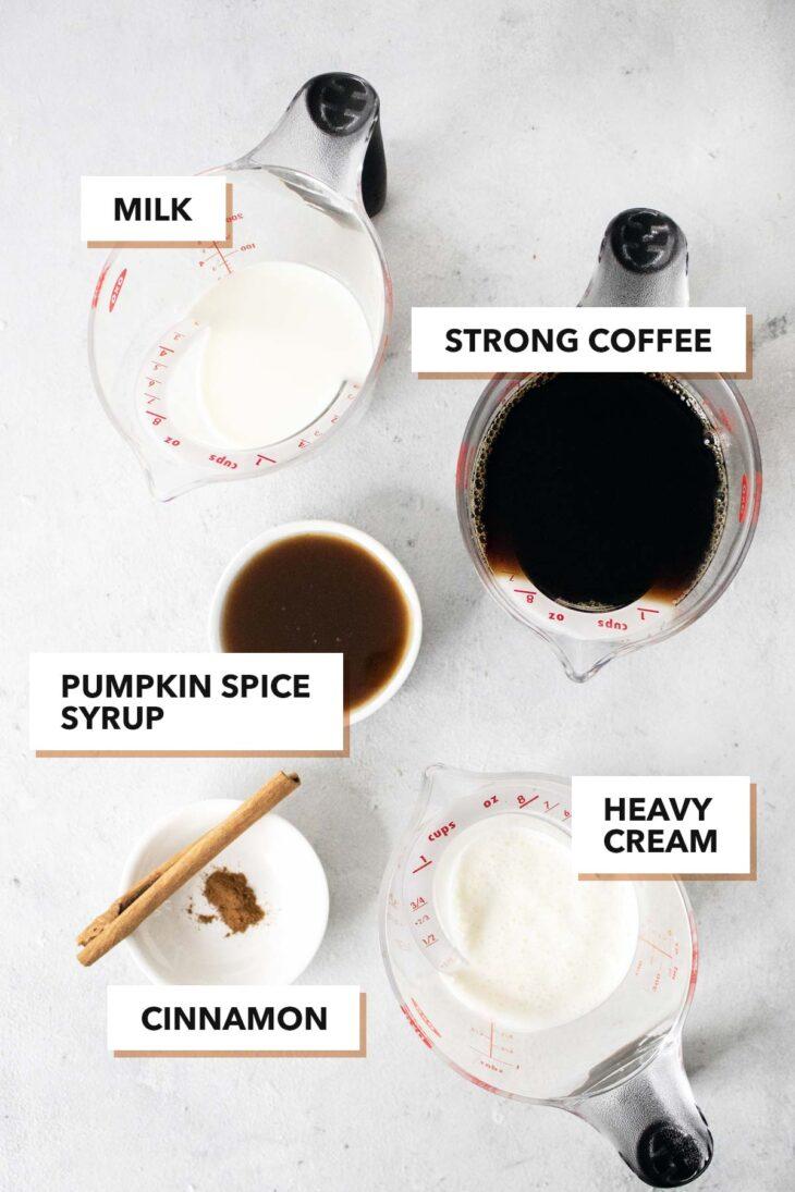 Pumpkin spice latte ingredients.