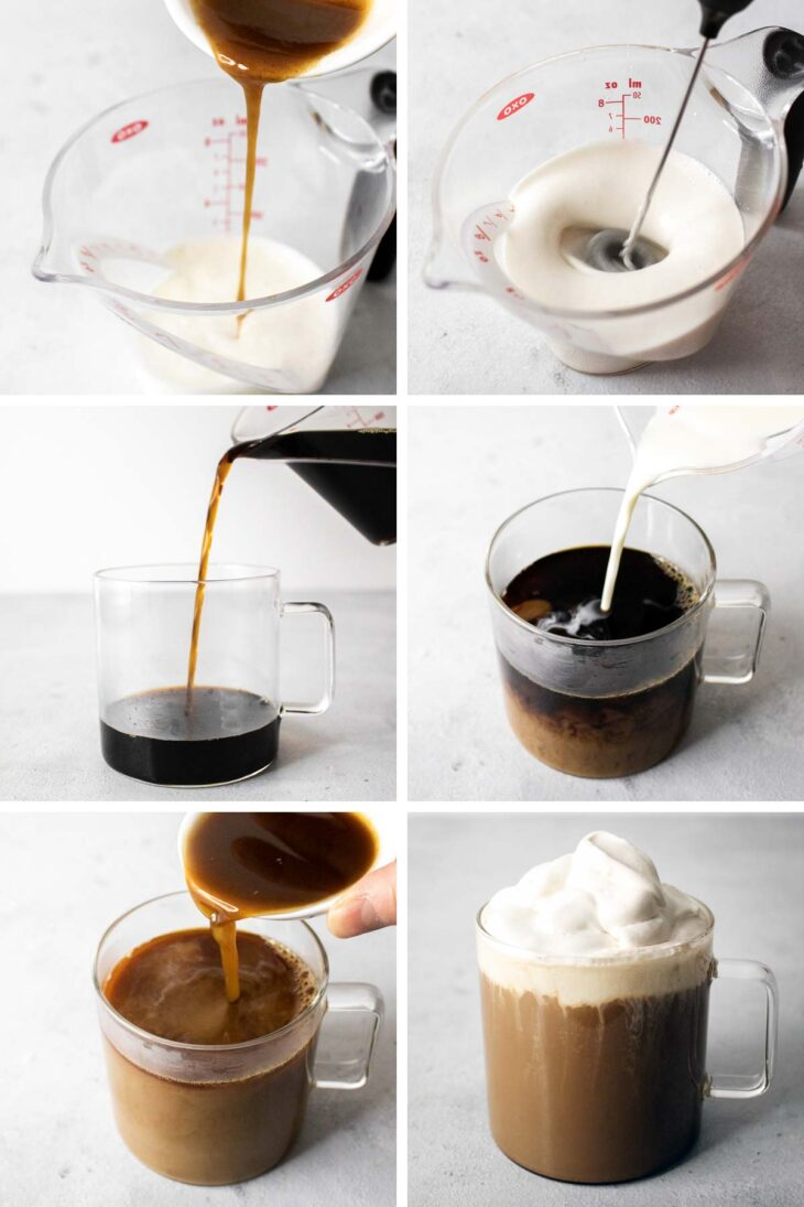Step-by-step photos on now to make pumpkin spice latte.