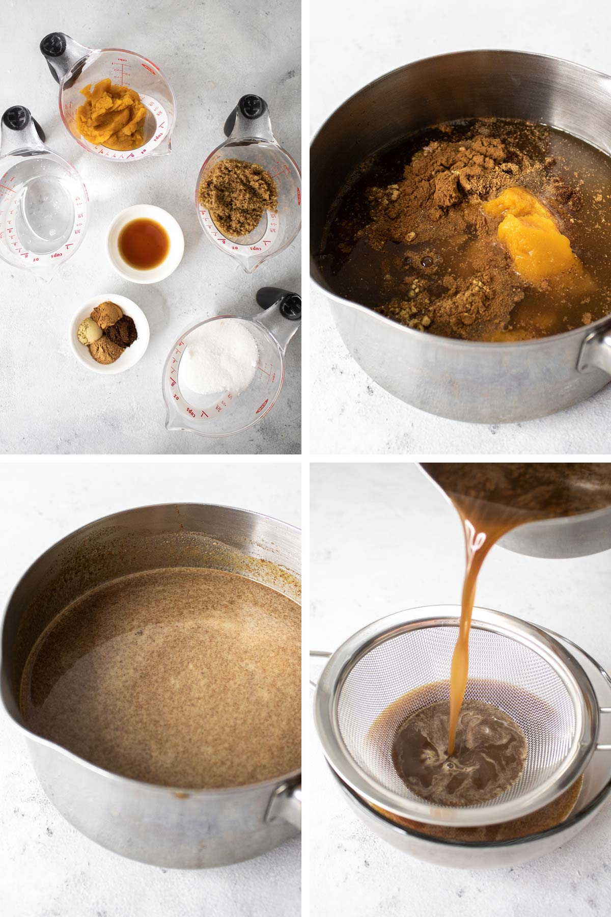 Four photo collage on how to make pumpkin spice.