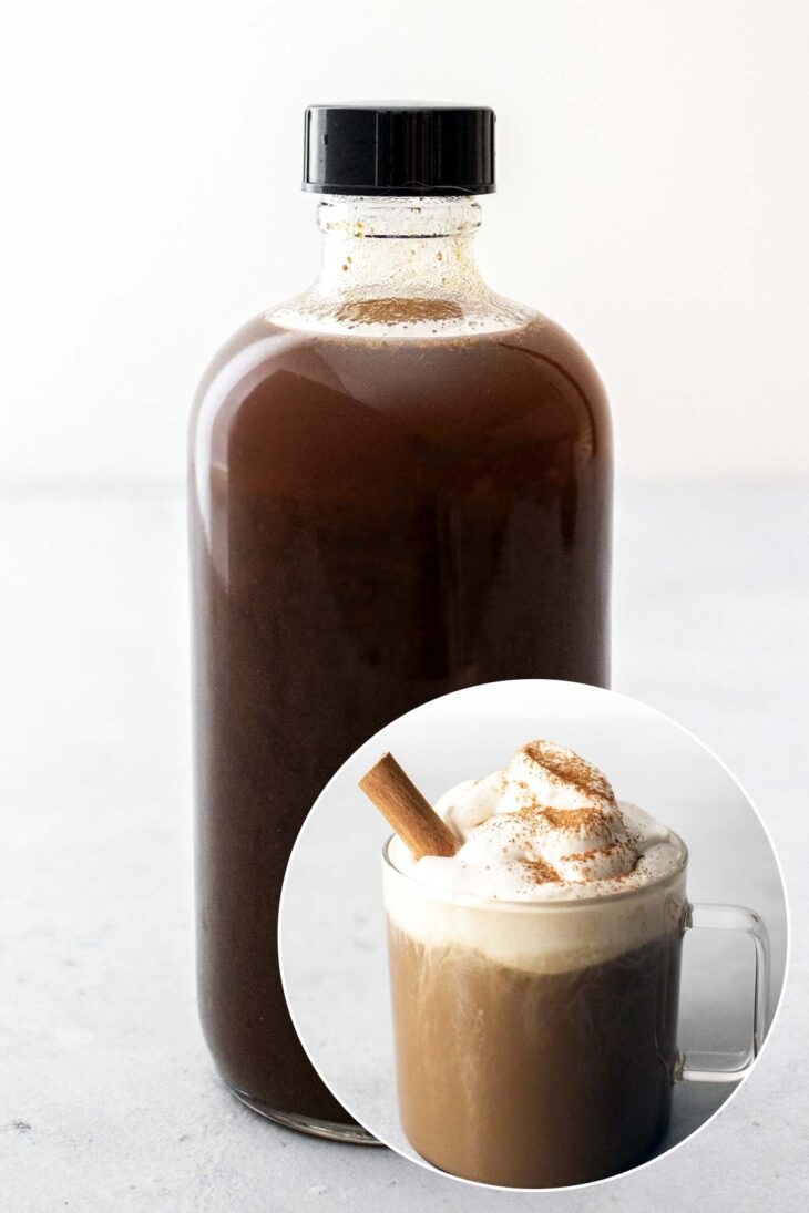Pumpkin spice syrup in a glass bottle and a photo of pumpkin spice latte.