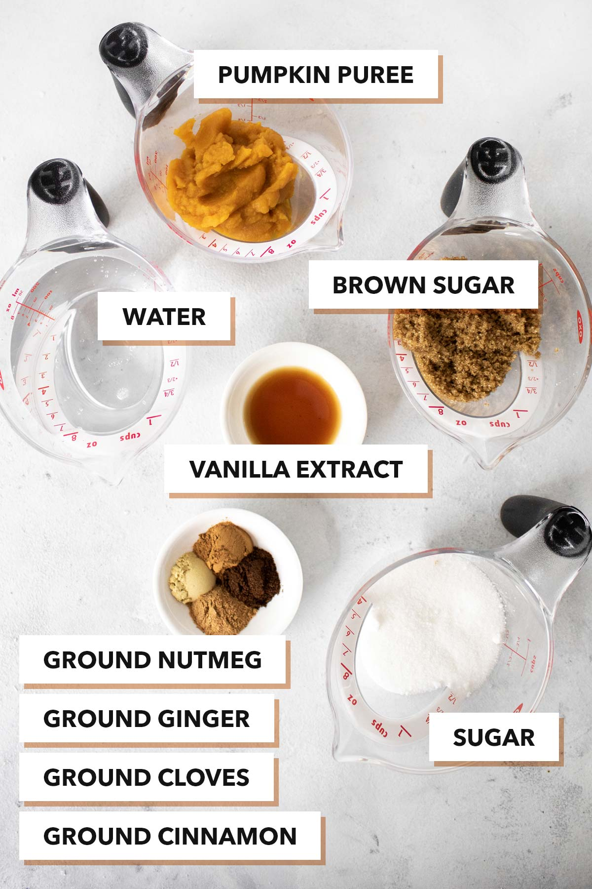 Pumpkin spice syrup ingredients.