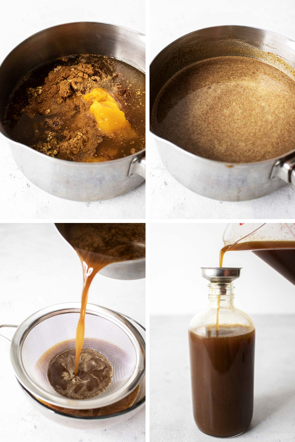 4 photos showing how to make pumpkin spice syrup.