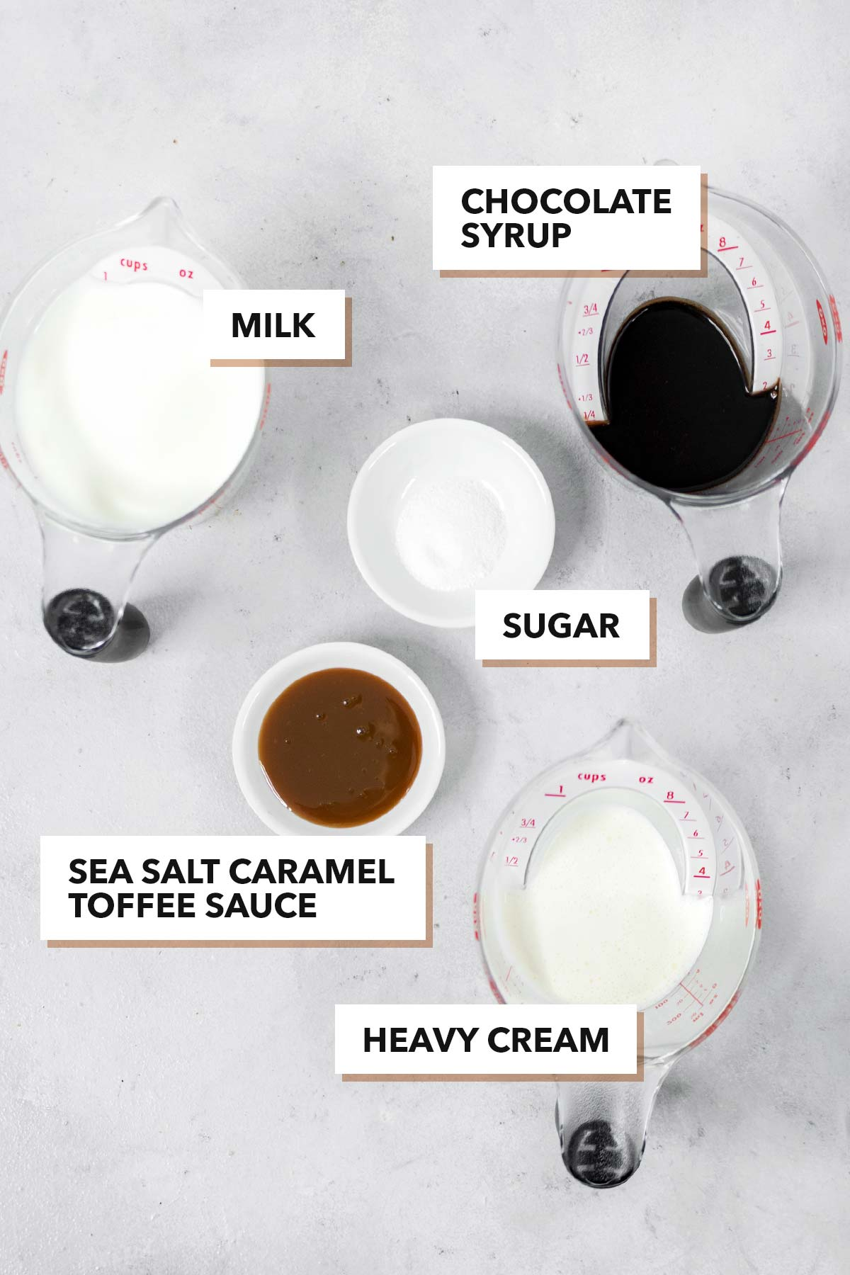 Salted caramel hot chocolate Ingredients.