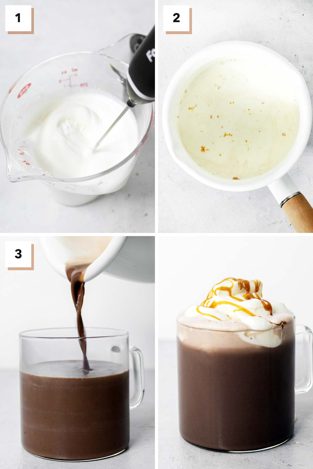 Four photo collage showing steps to make salted caramel hot chocolate.
