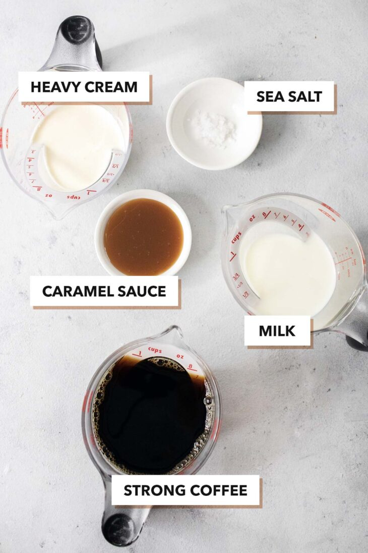 Salted caramel ingredients.