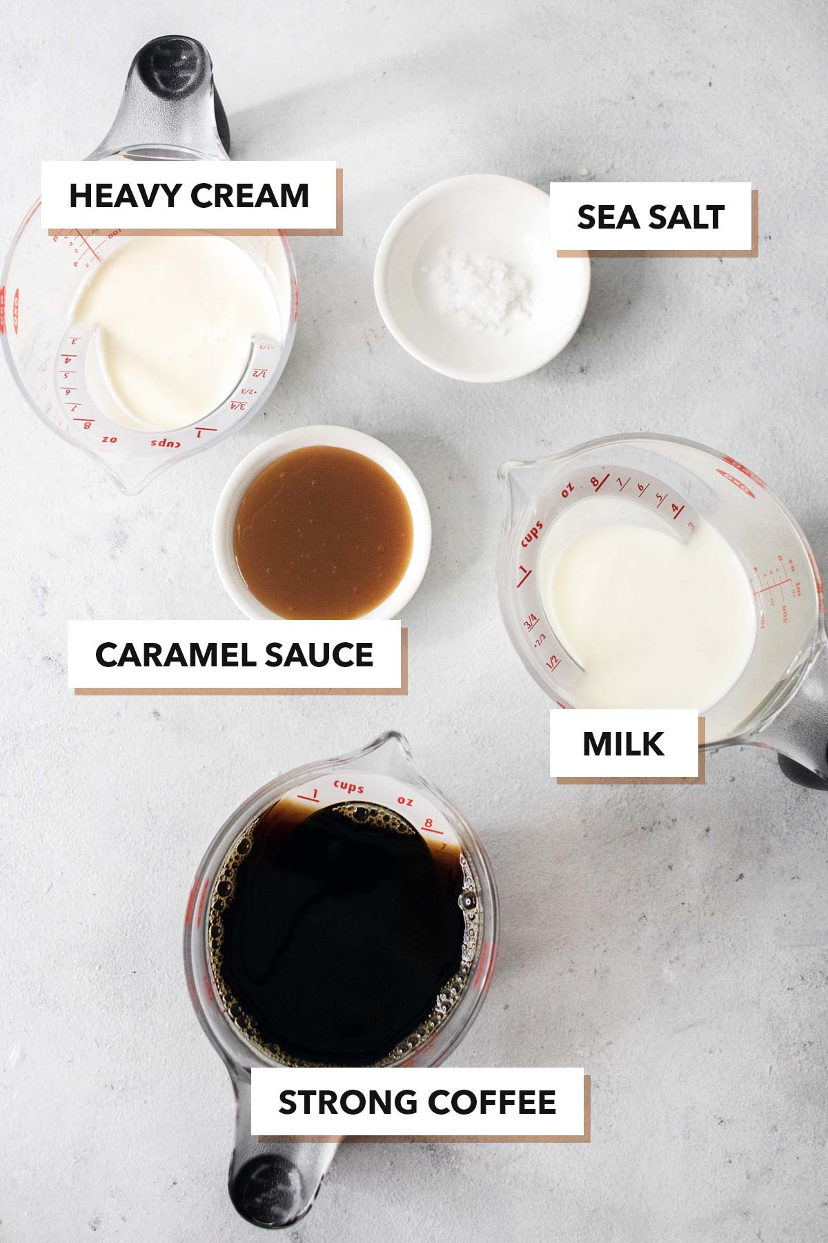 Salted caramel ingredients.