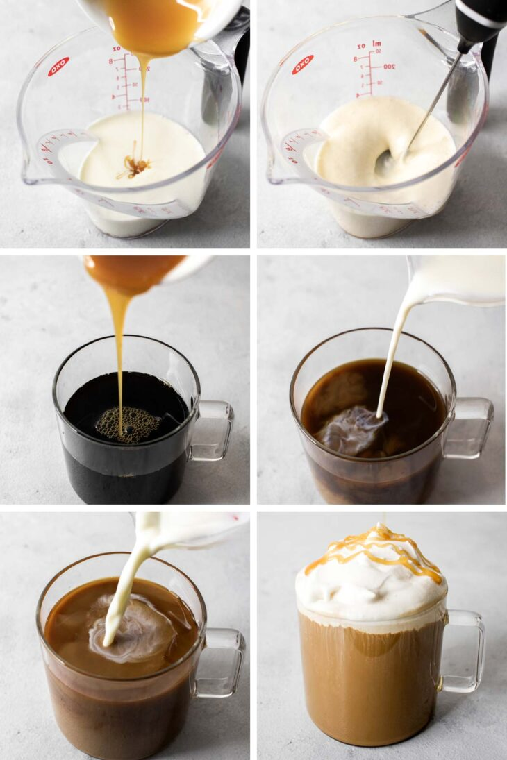 Six photos showing step-by-step process to make salted caramel latte.