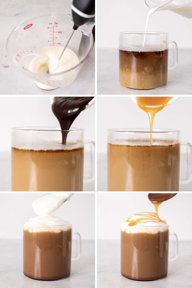 Six photos showing Salted Caramel Mocha Latte making process.