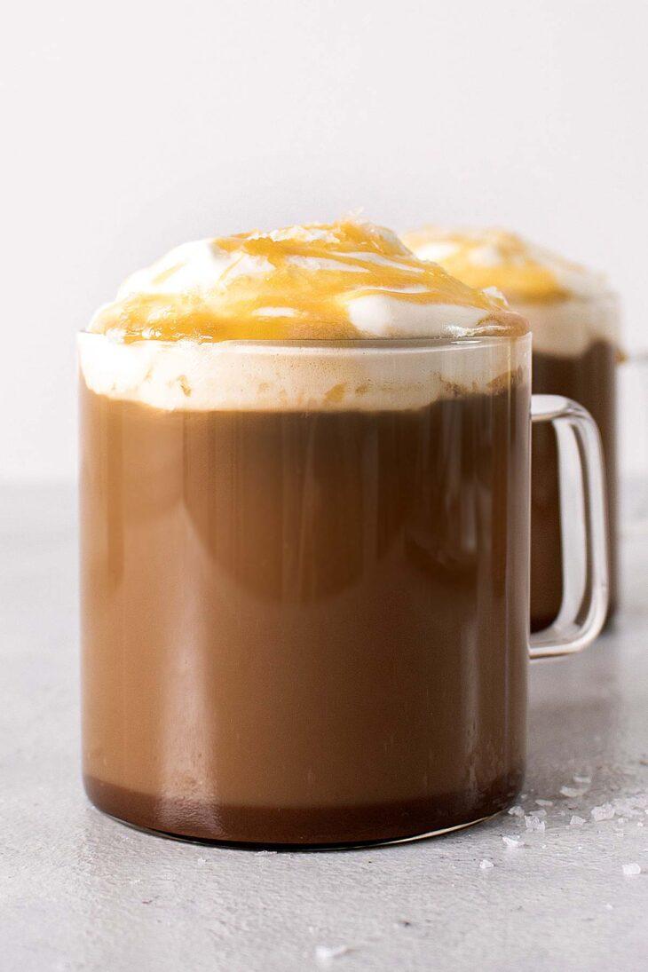 Salted Caramel Mocha Latte in glass mugs.