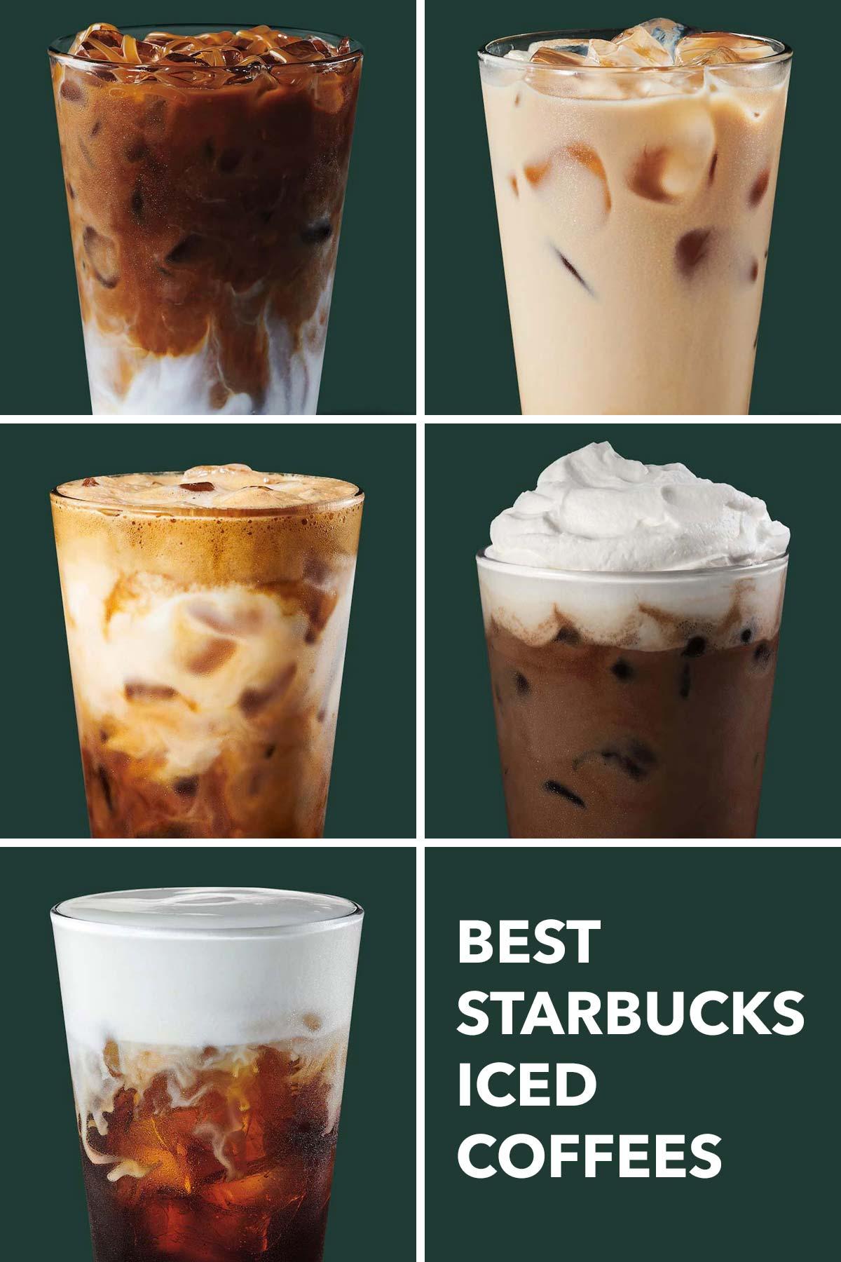 Six photo grid showing five Starbucks drinks.