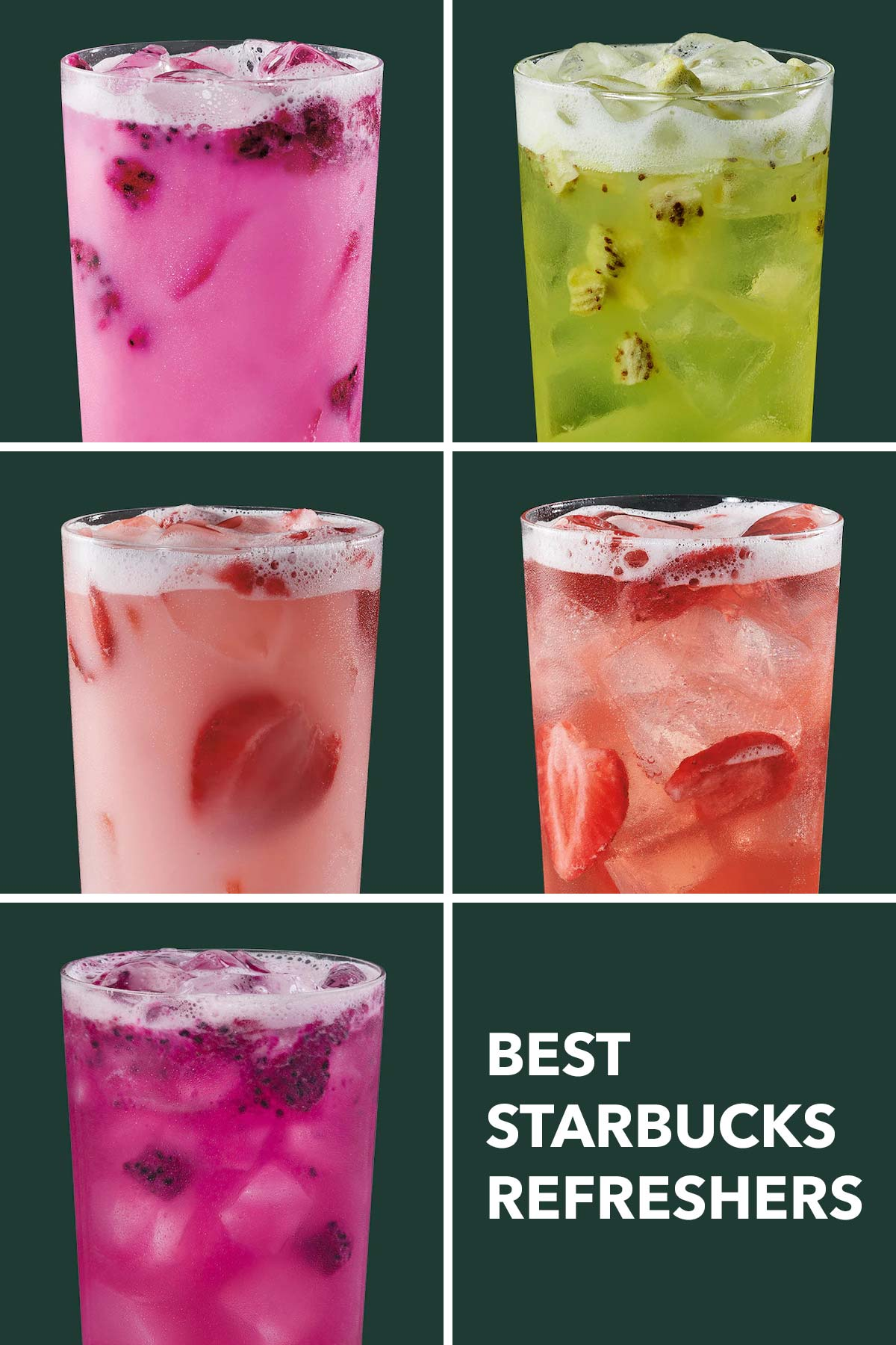 Five photo collage showing different Starbucks Refresher drinks.