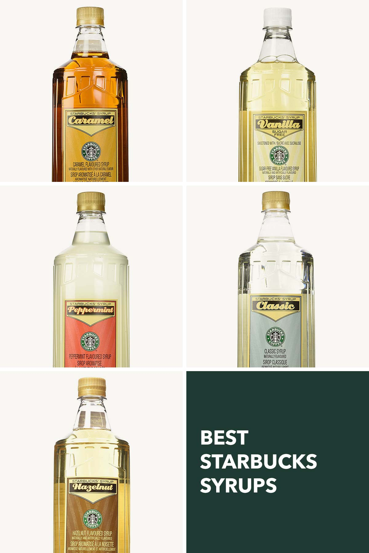 A collage showing five Starbucks syrups.