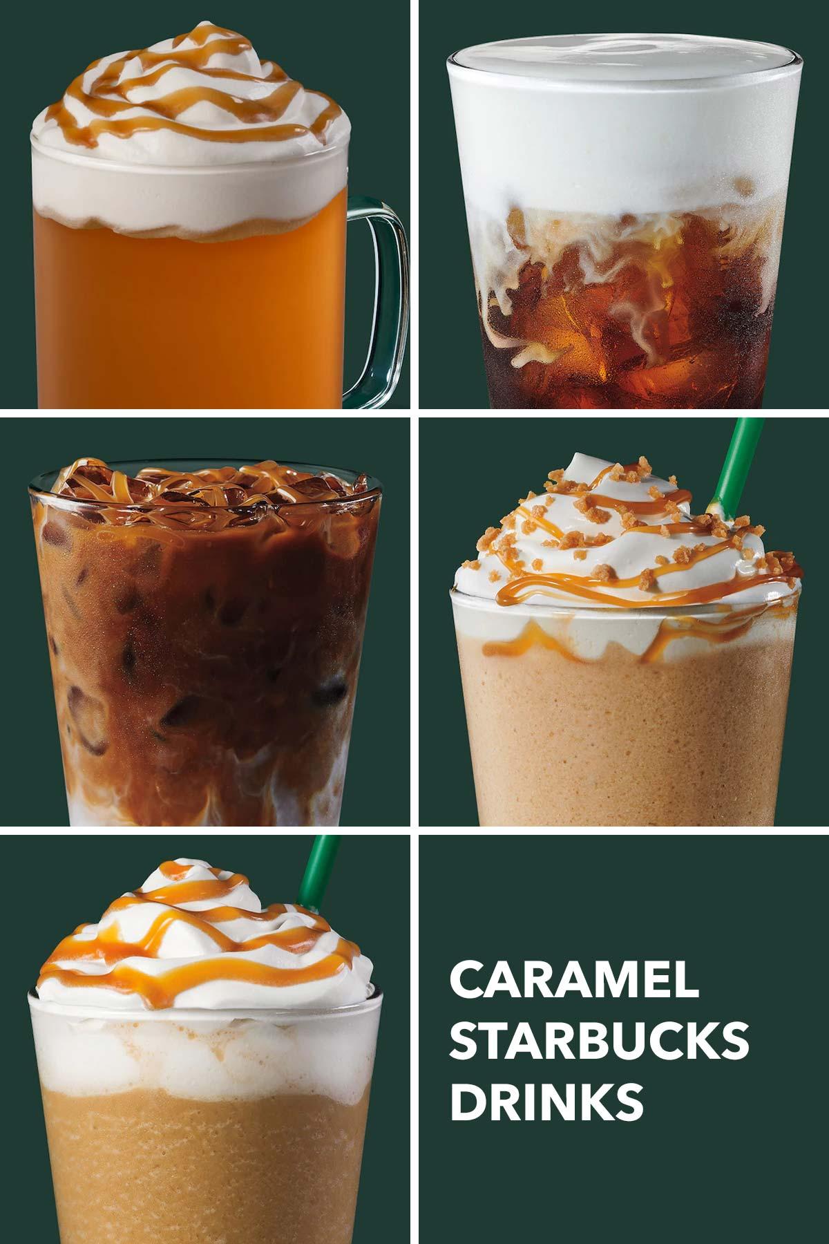 Six photo grid showing five Starbucks caramel drinks.