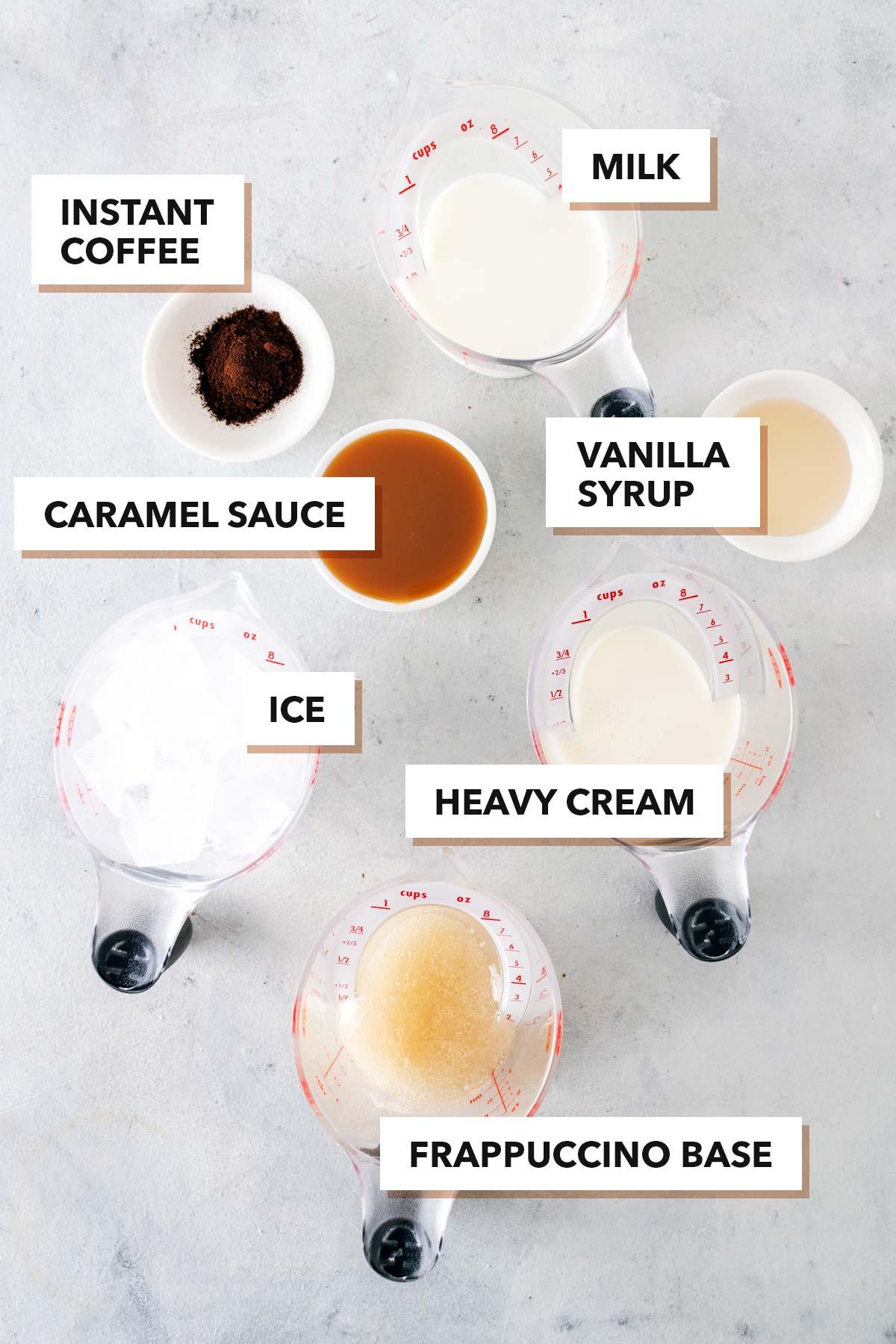 Starbucks Caramel Frappuccino copycat recipe ingredients.