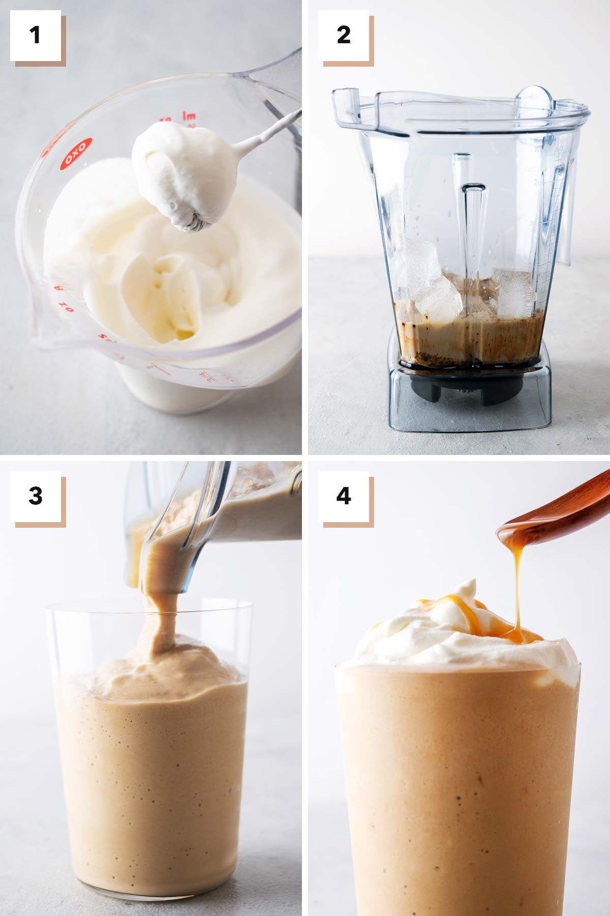 Four photo collage showing steps to make a Caramel Frappuccino.