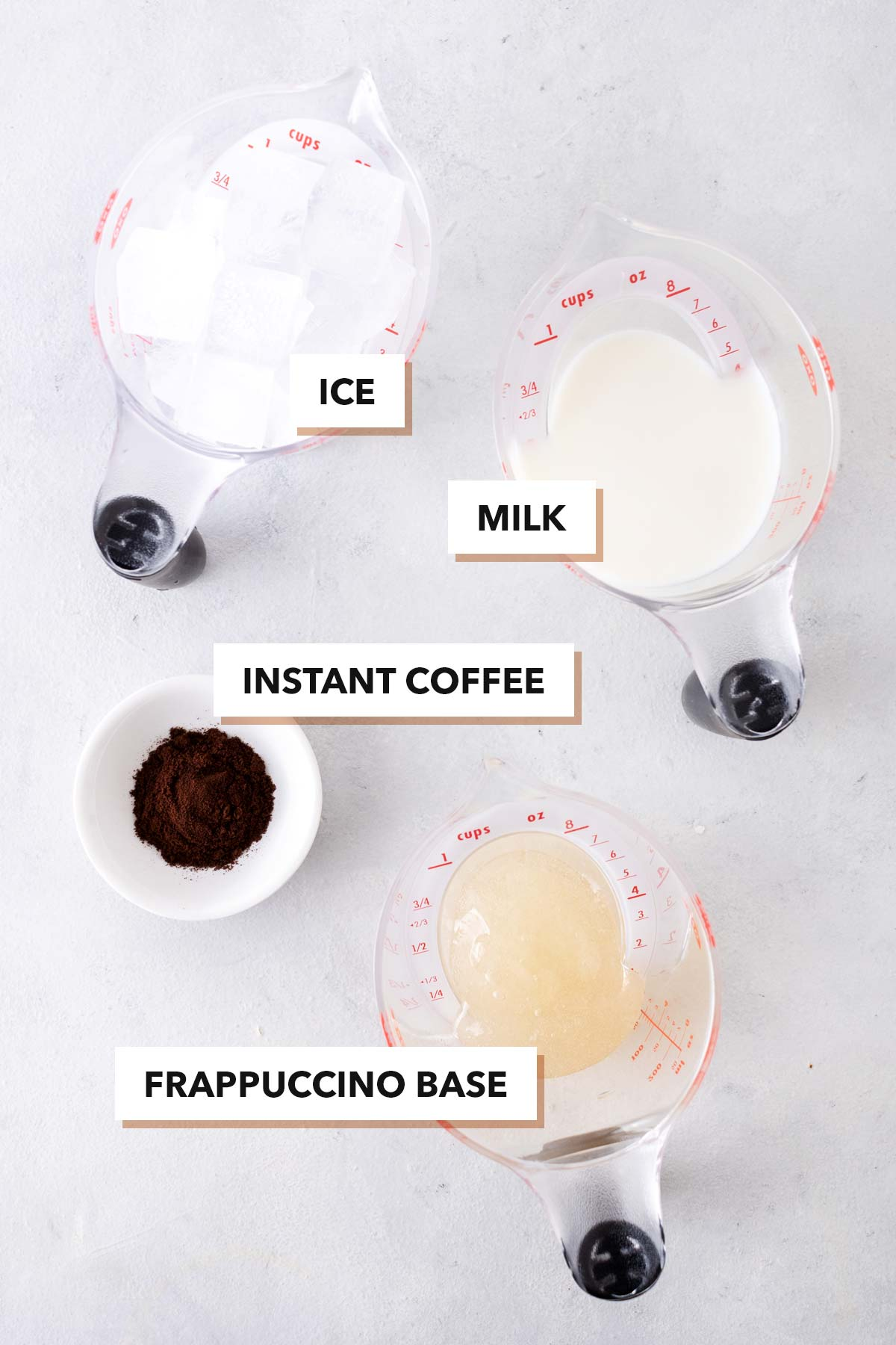 Coffee Frappuccino ingredients.