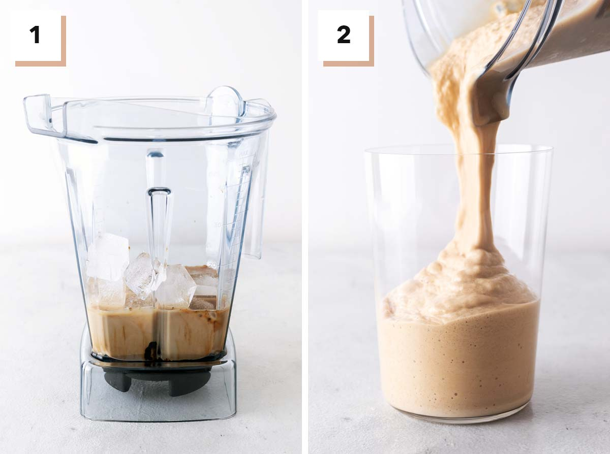 Two photo collage showing steps to make Coffee Frappuccino.
