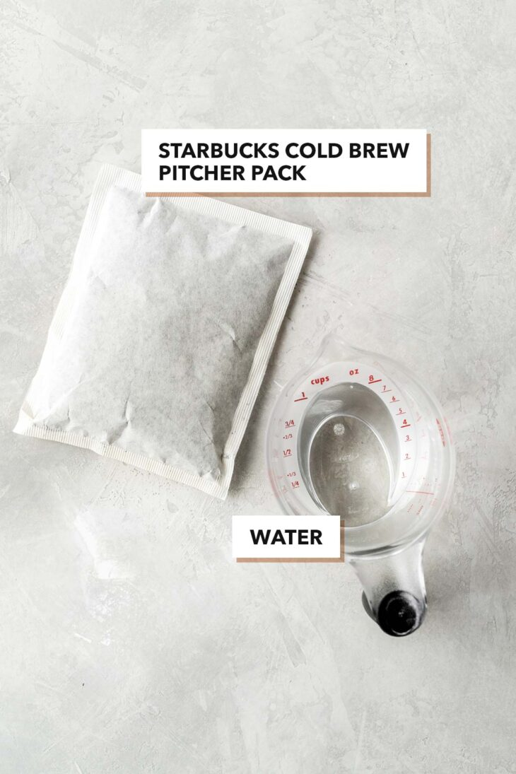 Cold brew coffee pitcher pack and water.