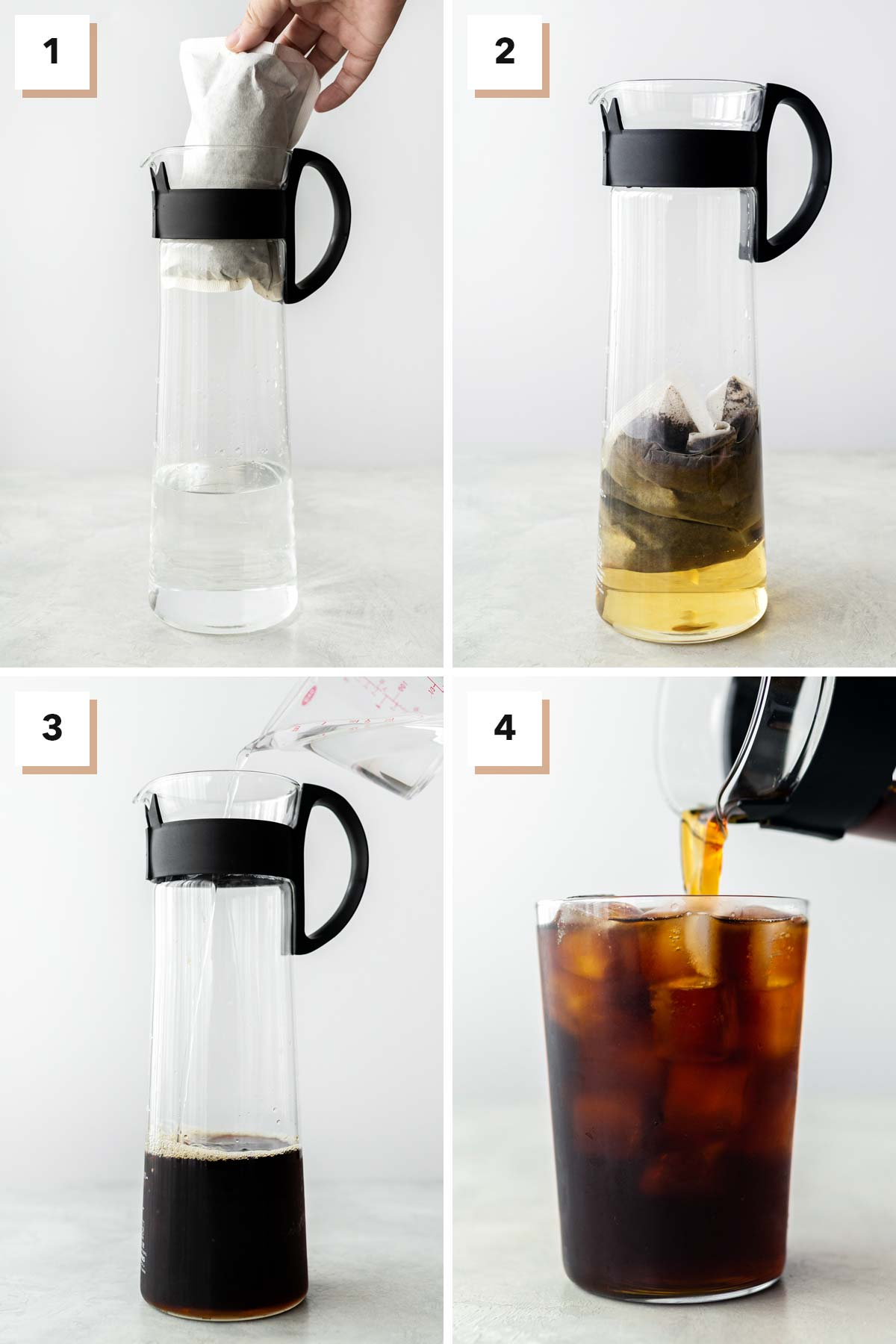 Four photo collage showing steps to make Starbucks cold brew coffee.