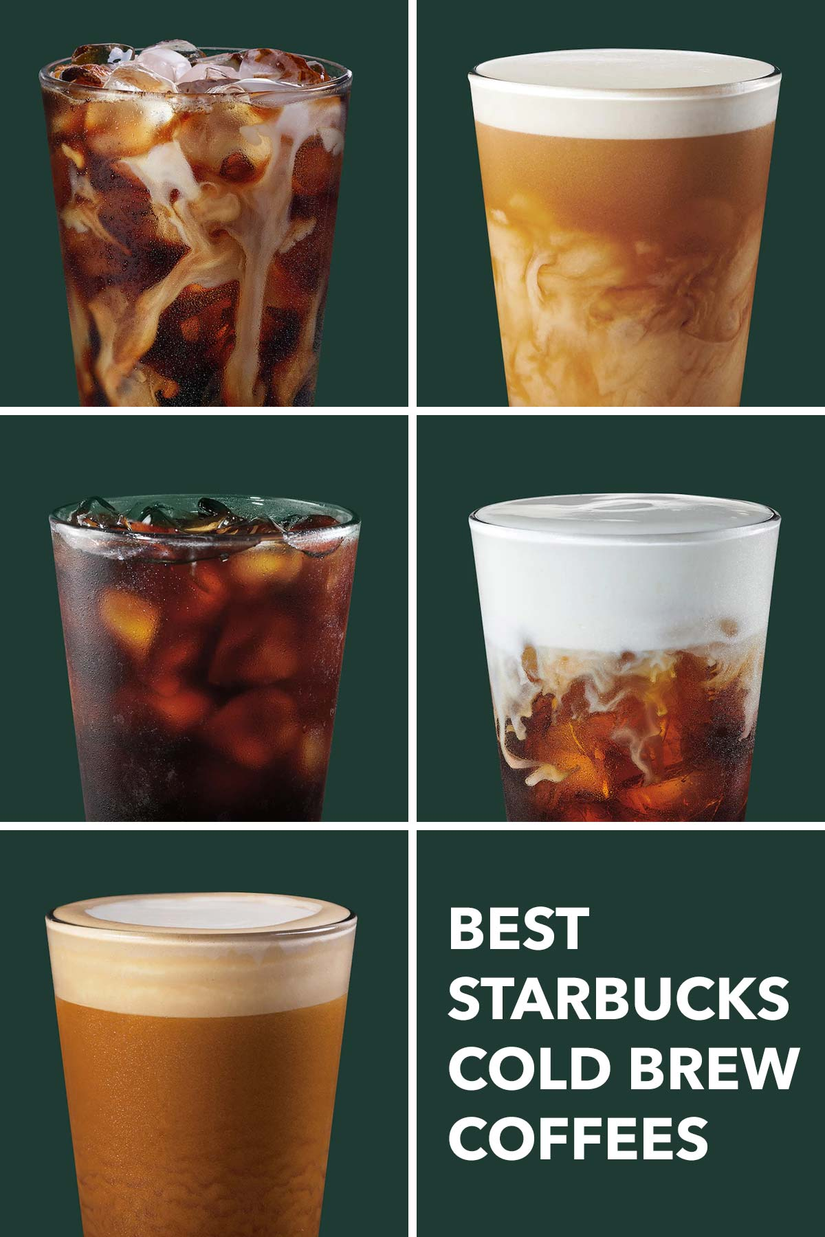 Photo collage grid showing five different Starbucks cold brews.