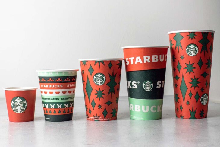 A line of Starbucks holiday 2020 cups.