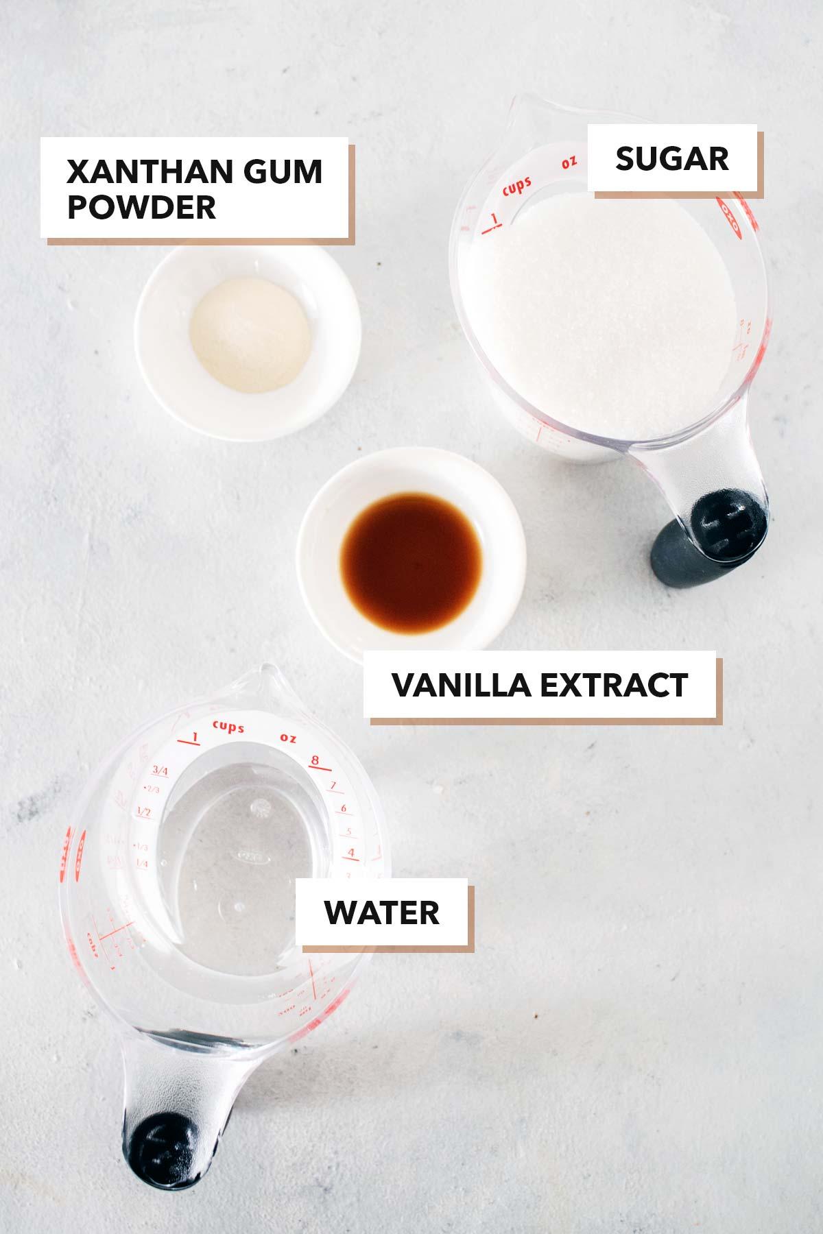 Starbucks Frappuccino base ingredients.