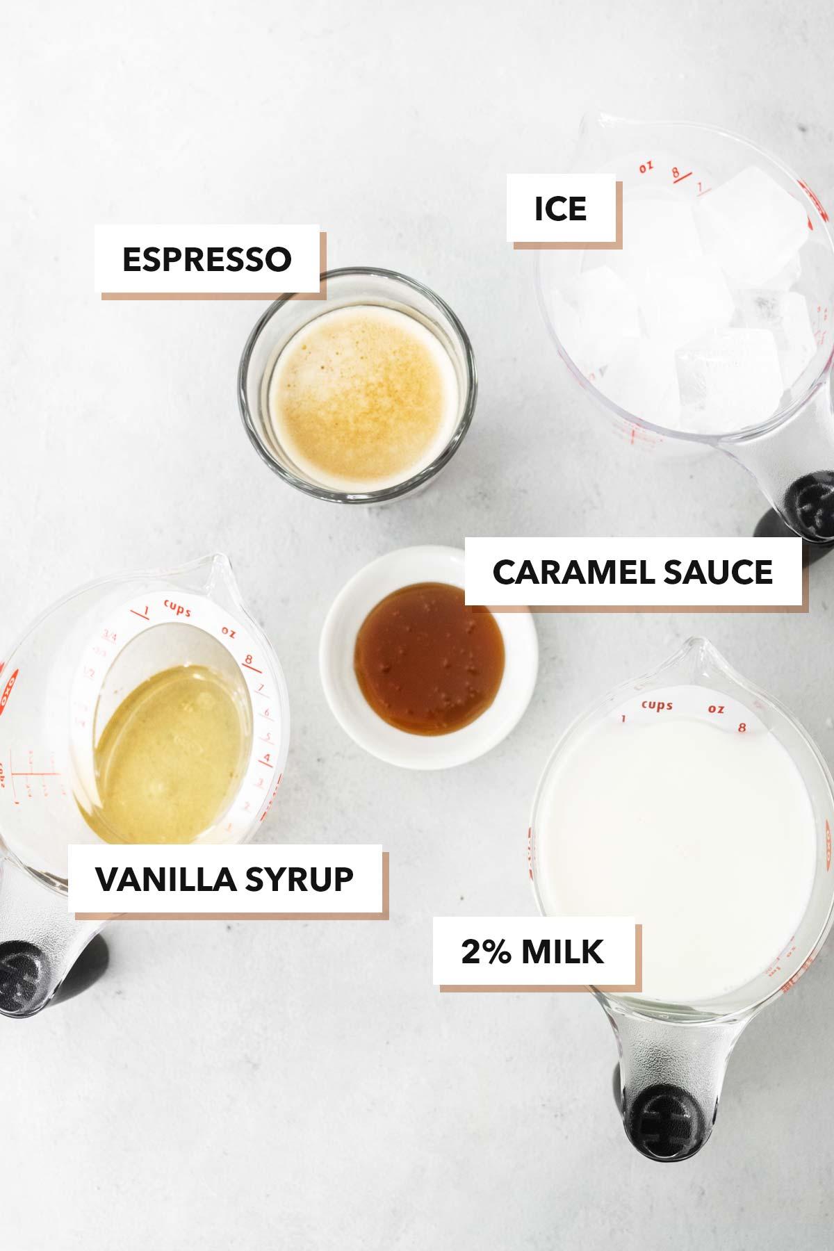 Starbucks Iced Caramel Macchiato copycat recipe ingredients.