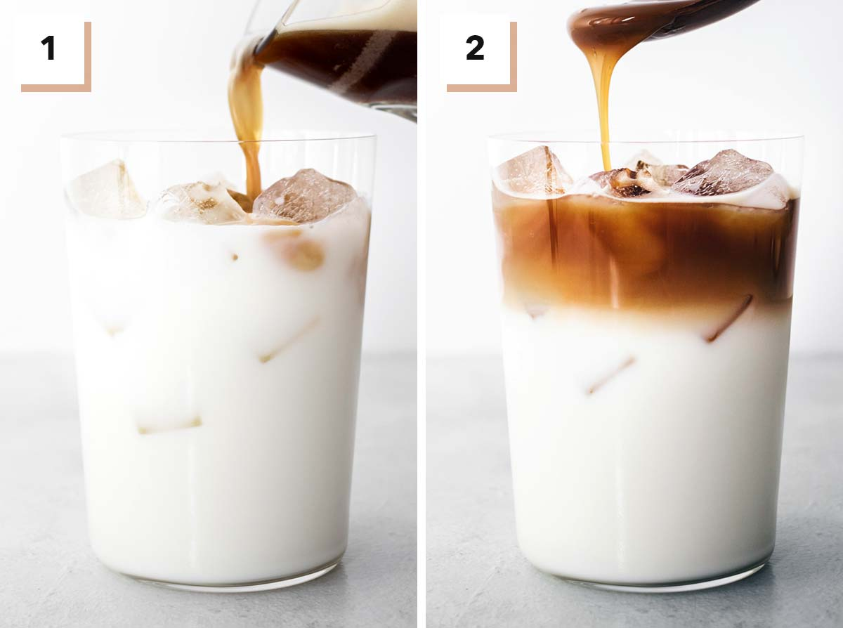 Two photo collage showing steps to make Iced Caramel Macchiato.