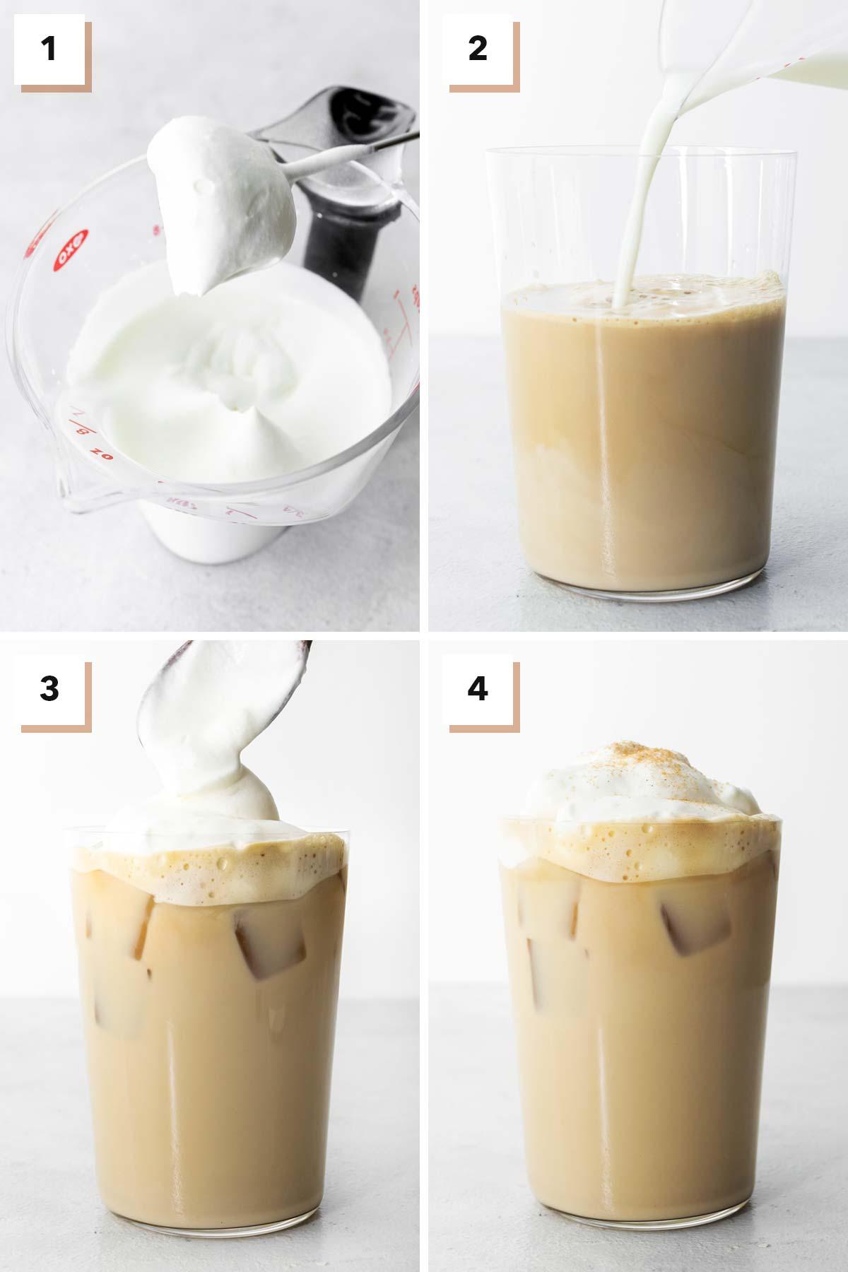 Steps to make Starbucks Iced Cinnamon Dolce Latte copycat drink.