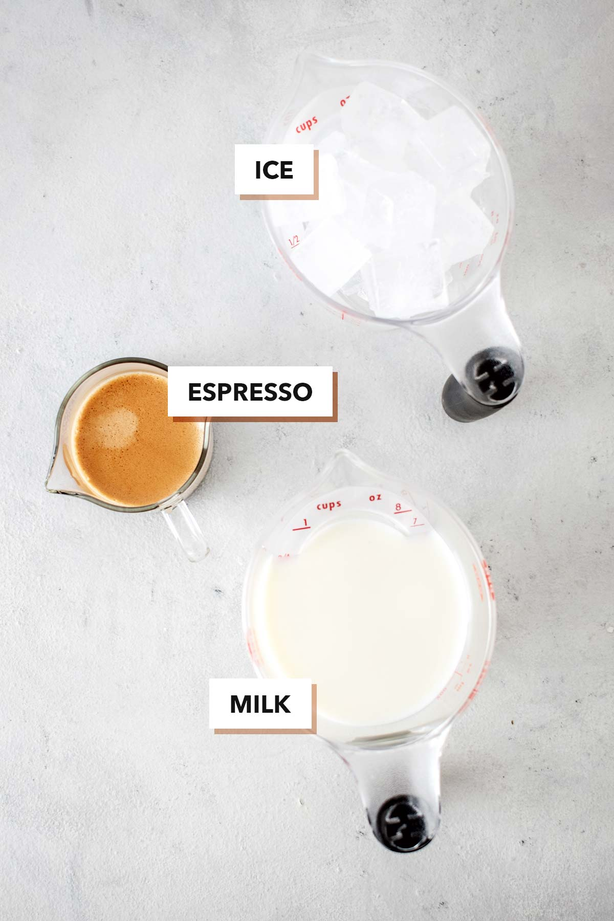 Iced Latte ingredients.