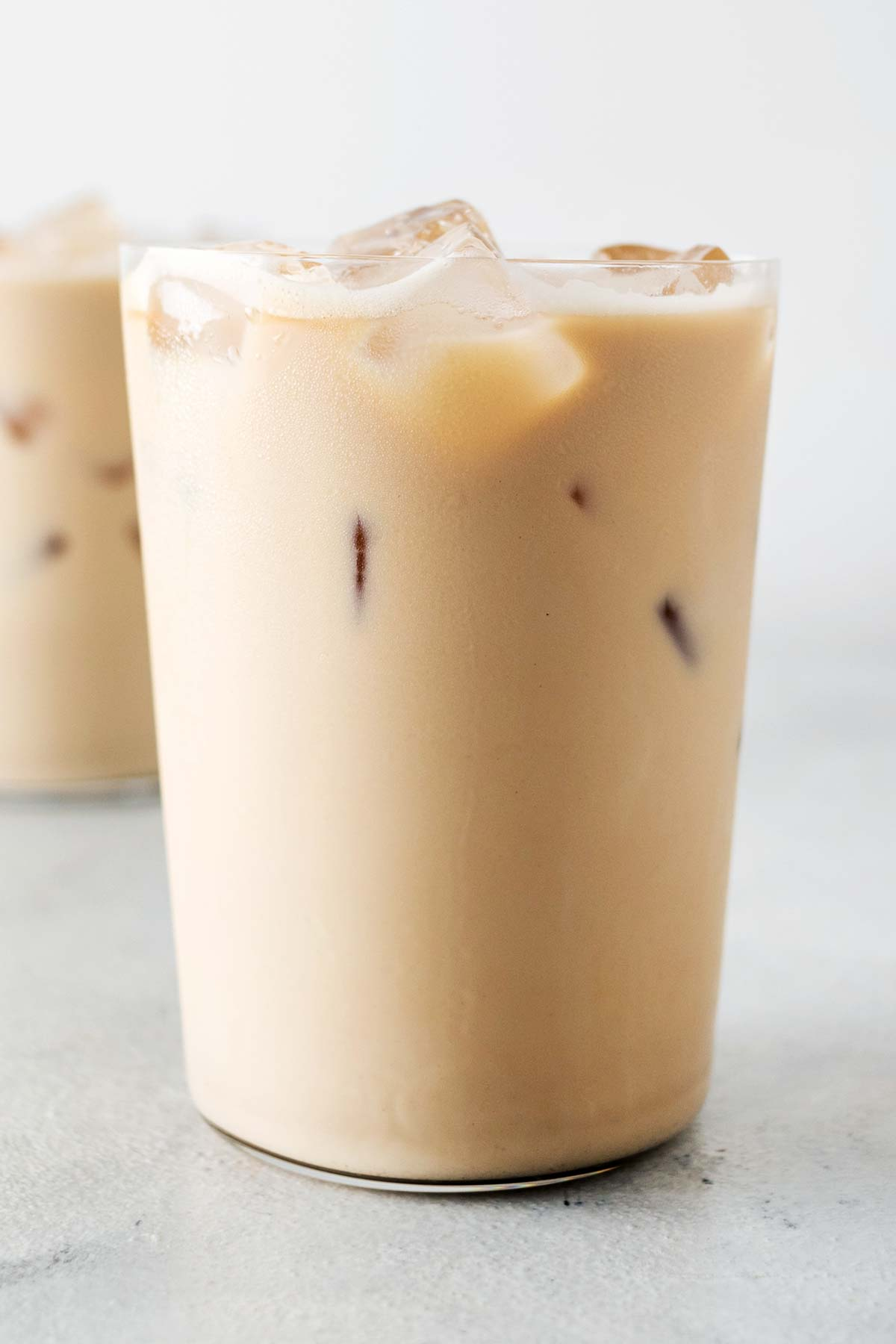 Iced Lattes in glass cups.