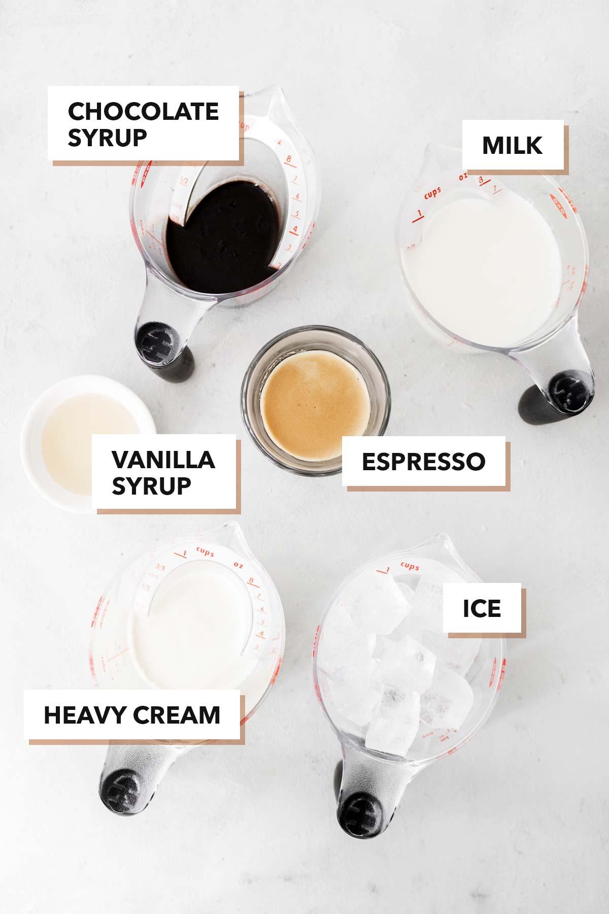 Homemade Starbucks Iced Mocha ingredients.