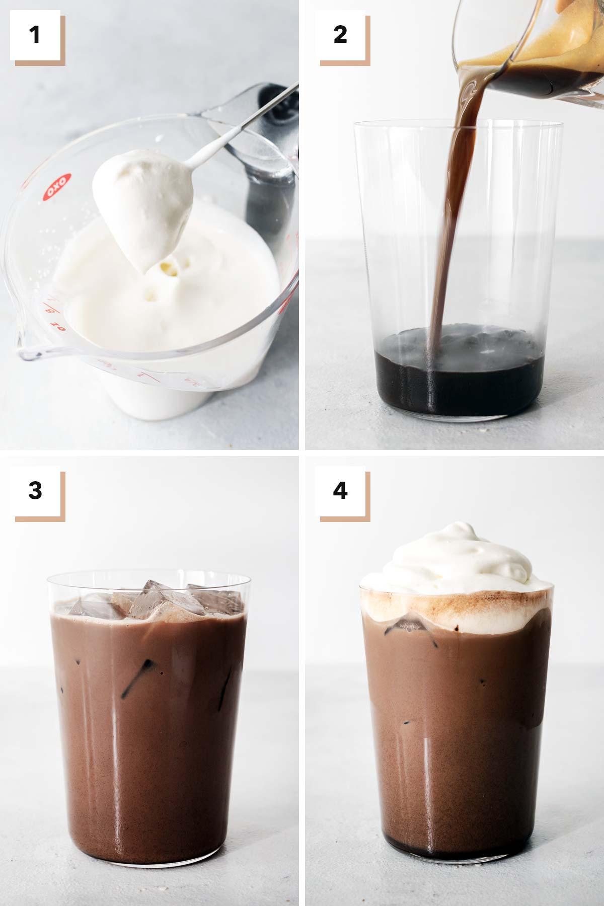 Four photos showing steps to make homemade Starbucks Iced Mocha.