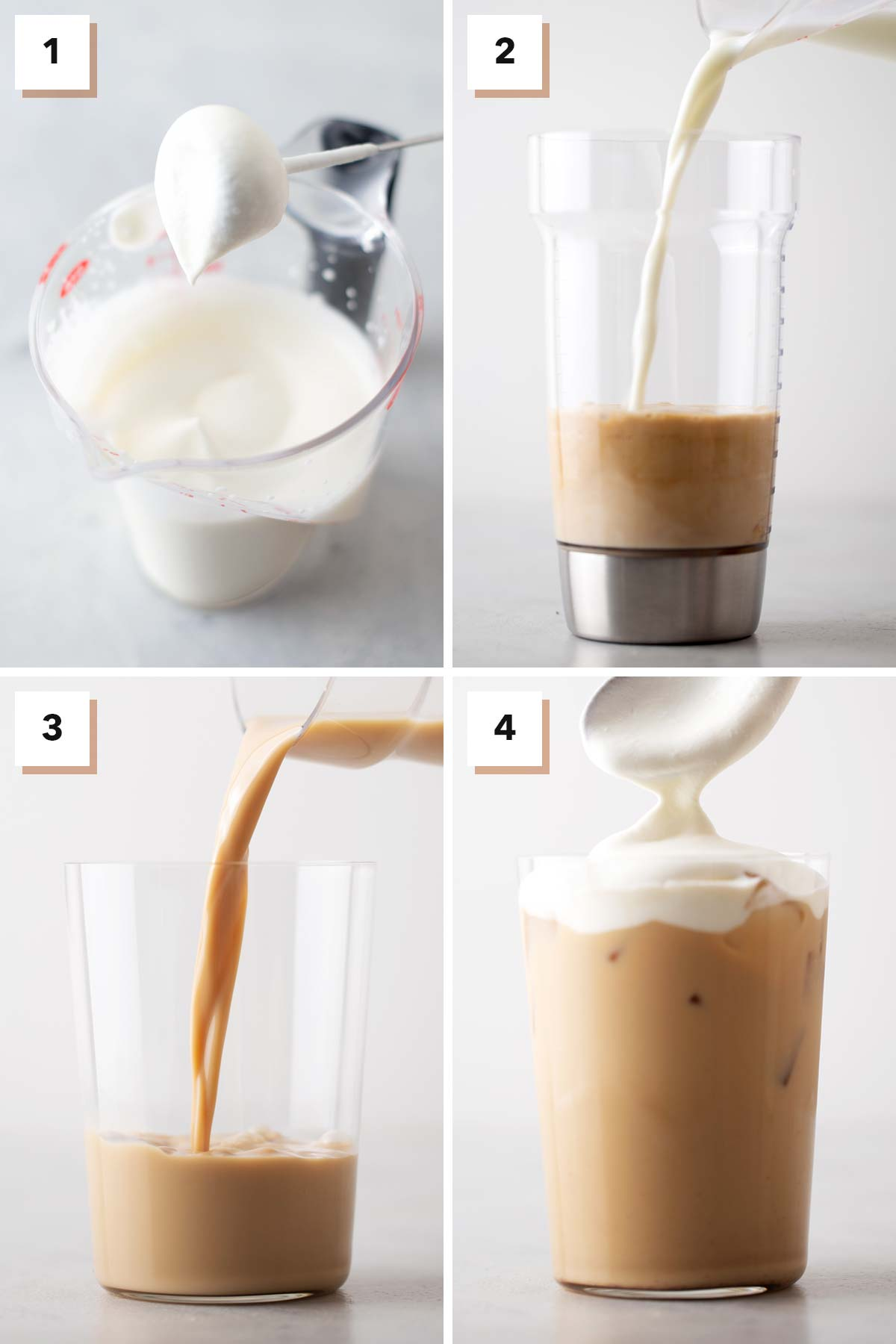 Four photo grid showing steps to make an Iced Pumpkin Spice Latte.