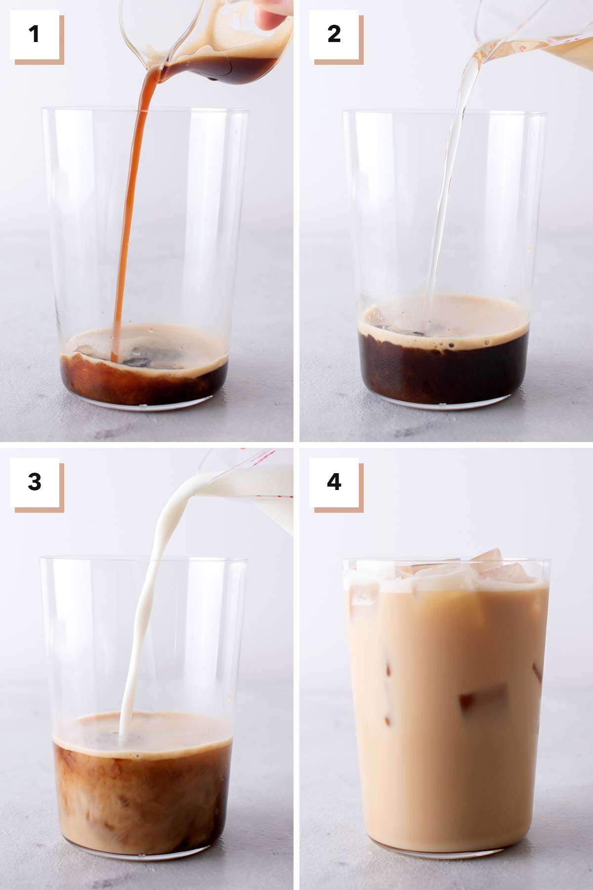 Four photo collage showing steps to make an Iced Vanilla Latte.